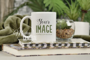 Coffee Mug Cup Mockup on Plant Table Graphic Product Mockups By Mockup Central