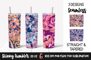 Colorful Marble Foil Tumbler Wrap Design Graphic Print Templates By VR Digital Design