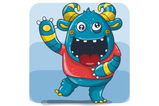 Cute Happy Blue Monster Graphic Illustrations By maniacvector