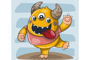 Cute Happy Monster Cartoon Graphic Illustrations By maniacvector