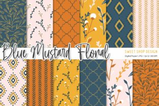 Digital Paper Pack Blue Mustard Floral Graphic Patterns By Sweet Shop Design