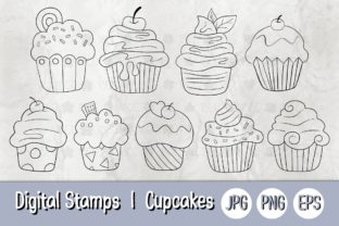 Print on Demand: Digital Stamp | Cupcakes 01 Bw Graphic Illustrations By 18CC