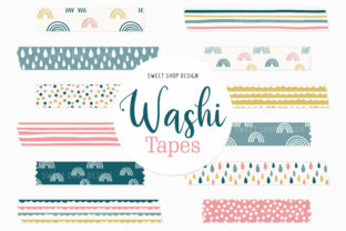 Digital Washi Tape BOHO RAINBOWS Graphic Illustrations By Sweet Shop Design