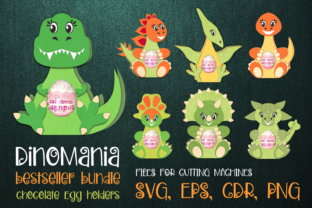 Print on Demand: Dino Bundle - Chocolate Egg Holders SVG Graphic 3D SVG By Olga Belova