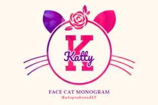 Print on Demand: Face Cat Monogram Decorative Font By utopiabrand19