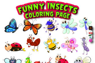 Funny Insects Coloring Page Graphic Coloring Pages & Books Kids By Moonz Coloring