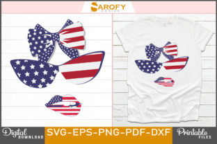 Print on Demand: Independence Day Design Sunglass & Face Graphic Print Templates By Sarofydesign