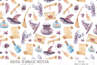 Print on Demand: Magic School Digital Seamless Pattern Graphic Patterns By Tiana Geo