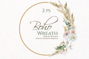 Pampas Grass Wreath Graphic Illustrations By lena-dorosh