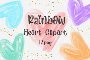 Print on Demand: Rainbow Heart Clipart Graphic Backgrounds By PinkPearly