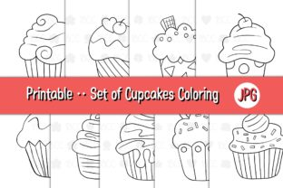 Print on Demand: Set of Cupcakes 01 Coloring Pages Graphic Coloring Pages & Books Kids By 18CC