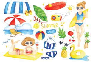 Set of Summer Doodles Watercolor Graphic Illustrations By Big Barn Doodles