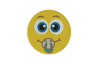 Smiling Pacifier Emoji Friends Embroidery Design By DigitEMB
