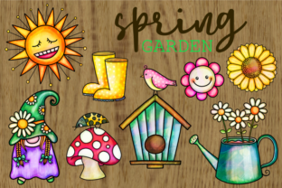 Print on Demand: Spring Garden Watercolor Ink Doodles Graphic Illustrations By Prawny