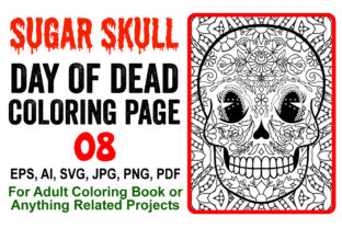 Sugar Skull Coloring Page for Adults - 8 Graphic Coloring Pages & Books Adults By XpertDesigner