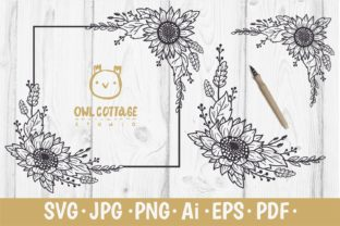 Print on Demand: Sunflower Square Frame SVG Graphic Crafts By owlcottagestudio