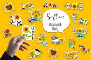 Print on Demand: Sunflower Watercolor  - Sticker Pack Graphic Illustrations By ElenaZlataArt