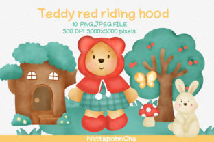 Print on Demand: Teddy Bear Red Riding Hood Clipart. Graphic Illustrations By nattapohncha