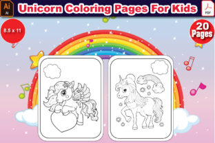 Unicorn Coloring Pages for Kids Graphic Coloring Pages & Books Kids By Adib_24
