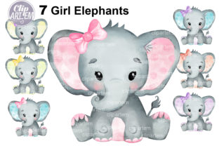 Print on Demand: Watercolor Bundle 7 Cute Girl Elephants Grafik Illustrationen von clipArtem