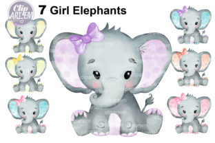 Print on Demand: Watercolor Bundle 7 Cute Girl Elephants Graphic Illustrations By clipArtem 2