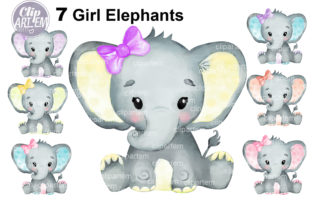Print on Demand: Watercolor Bundle 7 Cute Girl Elephants Graphic Illustrations By clipArtem 3