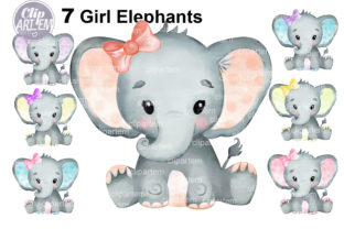 Print on Demand: Watercolor Bundle 7 Cute Girl Elephants Graphic Illustrations By clipArtem 4