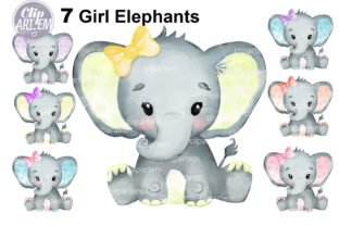 Print on Demand: Watercolor Bundle 7 Cute Girl Elephants Graphic Illustrations By clipArtem 5