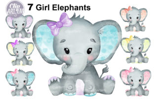 Print on Demand: Watercolor Bundle 7 Cute Girl Elephants Graphic Illustrations By clipArtem 6