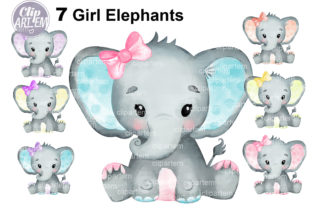 Print on Demand: Watercolor Bundle 7 Cute Girl Elephants Graphic Illustrations By clipArtem 7