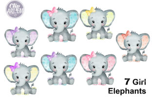 Print on Demand: Watercolor Bundle 7 Cute Girl Elephants Graphic Illustrations By clipArtem 8