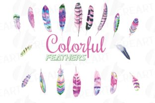 Print on Demand: Watercolor Colorful Feathers Decoration Graphic Print Templates By CreartGraphics