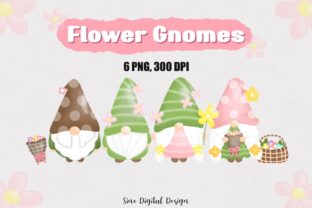 Print on Demand: Watercolor Flower Gnomes Clipart Set Graphic Illustrations By SineDigitalDesign