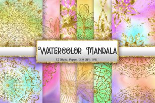 Print on Demand: Watercolor Mandala Glitter Background Graphic Backgrounds By PinkPearly
