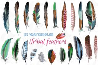 Print on Demand: Watercolor Tribal Boho Feathers Clip Art Graphic Print Templates By CreartGraphics