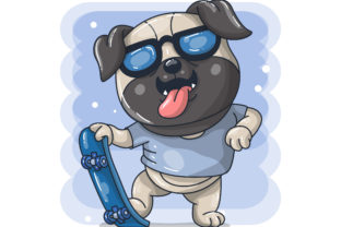 Cute Baby Dog Cartoon with Skateboard Grafik Illustrationen von maniacvector