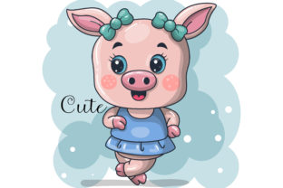 Cute Baby Girl Pig Cartoon Vector Graphic Illustrations By maniacvector