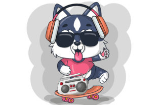Cute Baby Husky Dog with Skateboard Graphic Illustrations By maniacvector