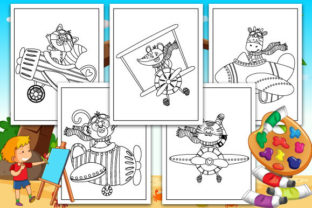 Print on Demand: Airplane with Animals Coloring Pages Graphic KDP Interiors By TrendColors