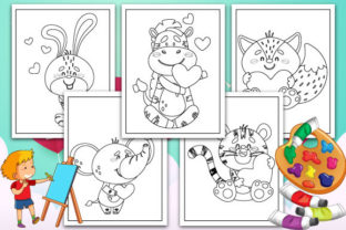 Print on Demand: Animals with Love Coloring Pages Graphic KDP Interiors By TrendColors