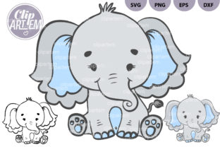 Print on Demand: Boy Elephant Blue SVG Vector Clipart Graphic Illustrations By clipArtem