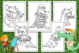 Print on Demand: Crocodile Coloring Pages Graphic KDP Interiors By TrendColors