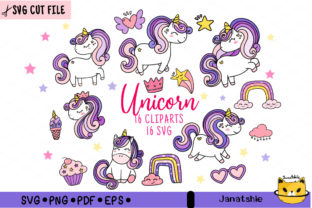 Print on Demand: Cute Purple MAGICAL Unicorn SVG Clip Art Graphic Crafts By Janatshie
