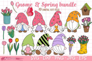 Gnome-Welcome Spring, SVG File Bundle Graphic Crafts By Apixsala