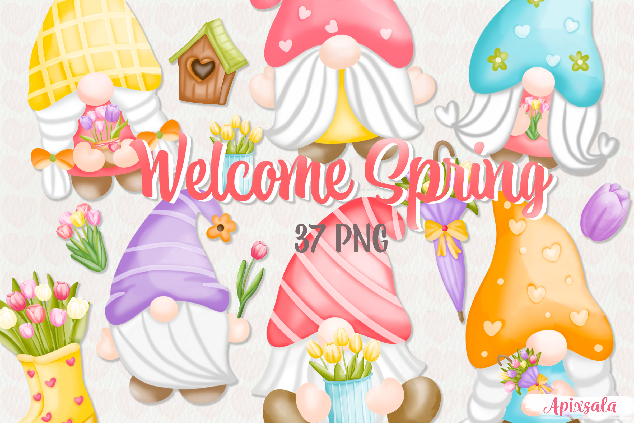 Gnome-Welcome Spring Watercolor Bundle SVG File