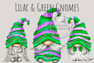 Print on Demand: Green & Purple Gnome Png Clipart Graphic Illustrations By Celebrately Graphics