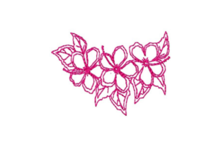 Hibiscus Outline Border Outline Flowers Embroidery Design By designsbymira