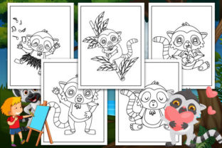 Print on Demand: Lemur Coloring Pages Graphic KDP Interiors By TrendColors