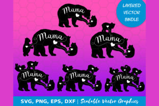 Print on Demand: MAMA BEAR and 1 2 3 4 5 Cubs SVG Bundle Graphic Objects By KARIMZA watercolor