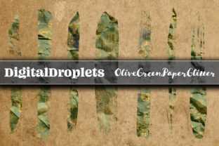 Olive Green Glitter | 400 Brush Strokes Graphic Objects By FlyingMonkies